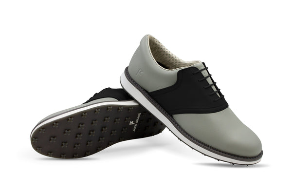 Men's Shoe Black Crisscross Angle On Grey Golf Shoe From Jack Grace USA