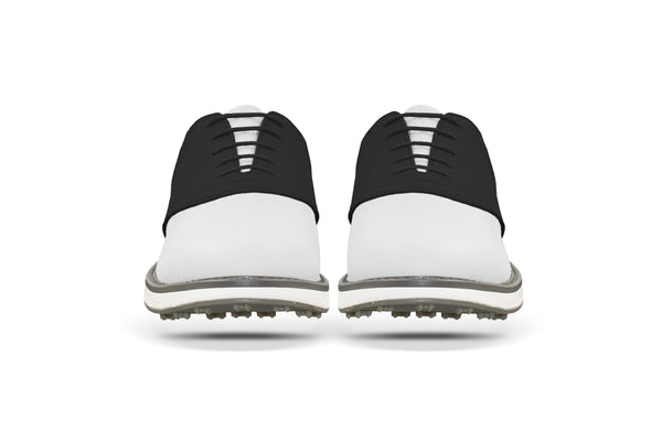 Men's Shoe Black Front Angle On White Golf Shoe From Jack Grace USA