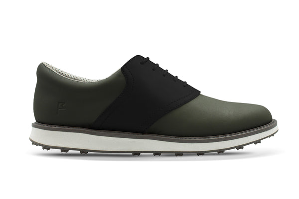 Men's Shoe Black Side Angle On Black Golf Shoe From Jack Grace USA