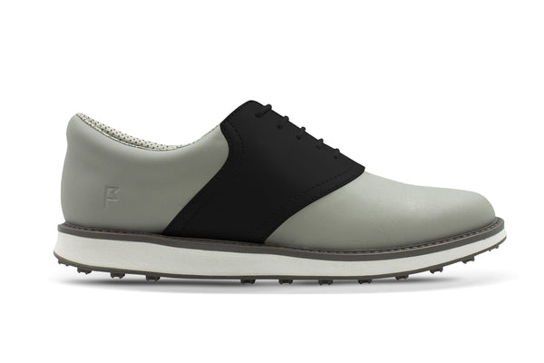Men's Shoe Black Side Angle On Grey Golf Shoe From Jack Grace USA
