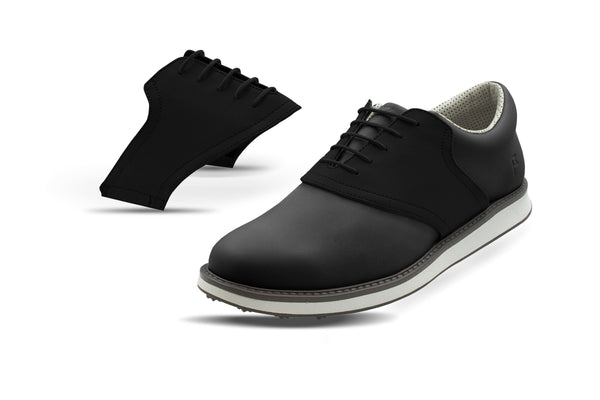 Men's Shoe Black Side By Side Angle On Black Golf Shoe From Jack Grace USA