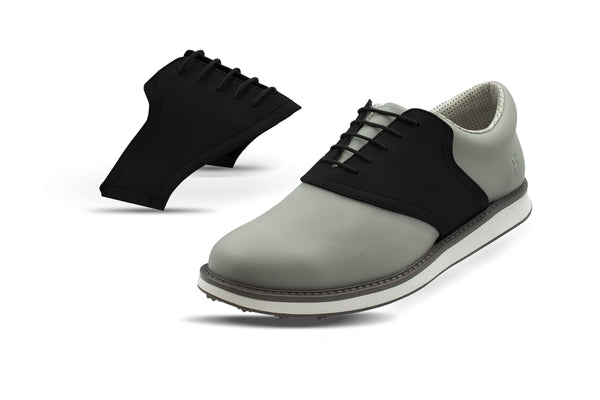 Men's Shoe Black Side By Side Angle On Grey Golf Shoe From Jack Grace USA