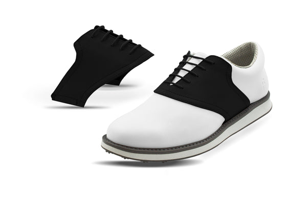 Men's Shoe Black Side By Side Angle On White Golf Shoe From Jack Grace USA