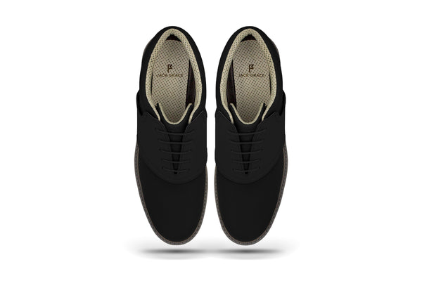 Men's Shoe Black Top Angle On Black Golf Shoe From Jack Grace USA