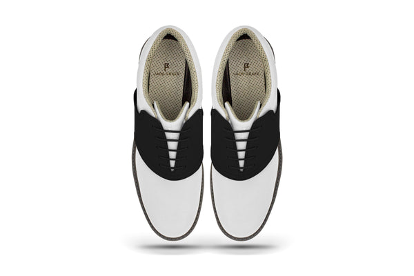 Men's Shoe Black Top Angle On White Golf Shoe From Jack Grace USA