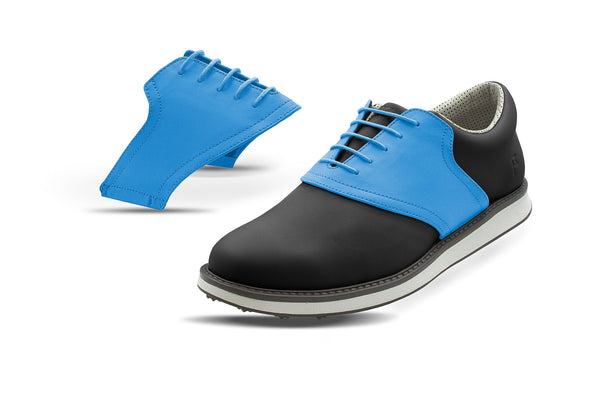 Men's Sky Blue Saddles On Black Golf Shoe From Jack Grace USA