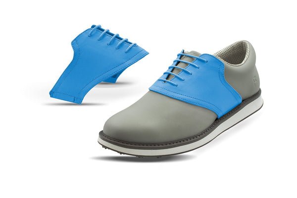 Men's Sky Blue Saddles On Grey Golf Shoe From Jack Grace USA