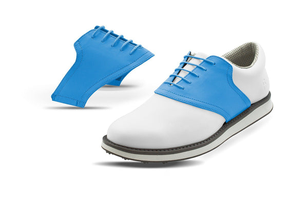 Men's Sky Blue Saddles On White Golf Shoe From Jack Grace USA