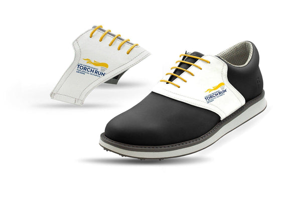 Men's Special Olympics White Saddles On Black Golf Shoe From Jack Grace USA