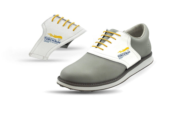 Men's Special Olympics White Saddles On Grey Golf Shoe From Jack Grace USA