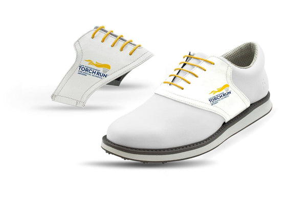 Men's Special Olympics White Saddles On White Golf Shoe From Jack Grace USA