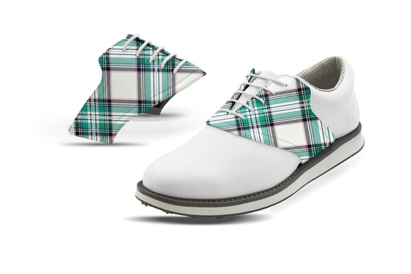 Men's Spring Plaid Saddles On White Golf Shoe Jack Grace USA