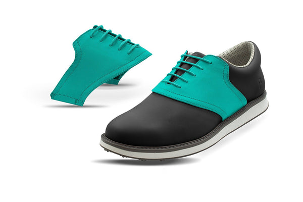 Men's Teal Saddles On Black Golf Shoe From Jack Grace USA