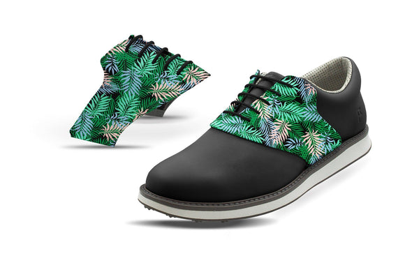 Men's Tropical Palm Fronds Saddles On Black Golf Shoe From Jack Grace USA