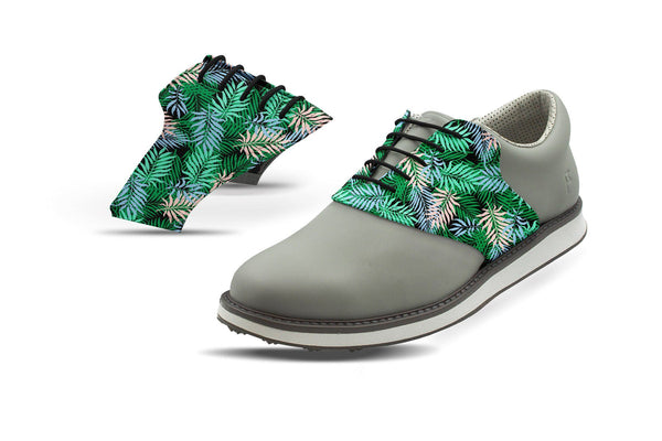 Men's Tropical Palm Fronds Saddles On Grey Golf Shoe From Jack Grace USA