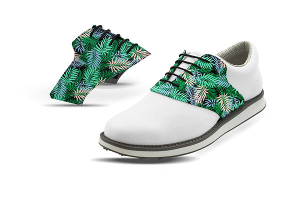Men's Tropical Palm Fronds Saddles On White Golf Shoe From Jack Grace USA