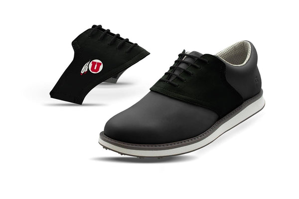 Men's Utah Black Saddles On Black Golf Shoe From Jack Grace USA
