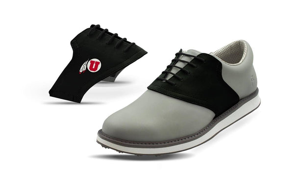 Men's Utah Black Saddles On Grey Golf Shoe From Jack Grace USA