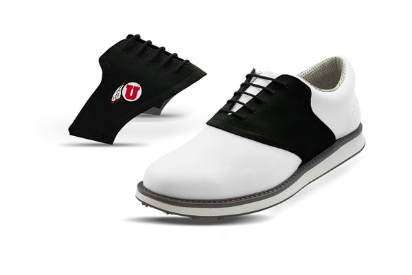 Men's Utah Black Saddles On White Golf Shoe From Jack Grace USA