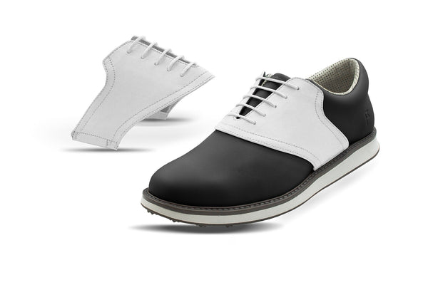 Men's White Saddles On Black Golf Shoe From Jack Grace USA