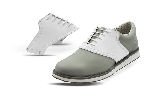 Men's White Saddles On Grey Golf Shoe From Jack Grace USA