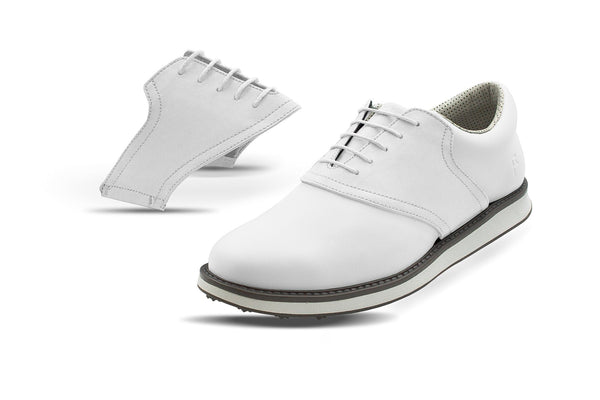 Men's White Saddles On White Golf Shoe From Jack Grace USA