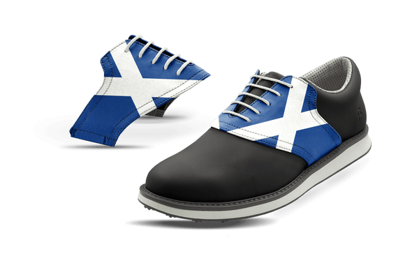 Men's Scotland Flag Saddles On Black Golf Shoe From Jack Grace USA