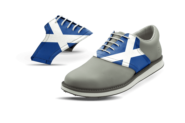 Men's Scotland Flag Saddles On Grey Golf Shoe From Jack Grace USA