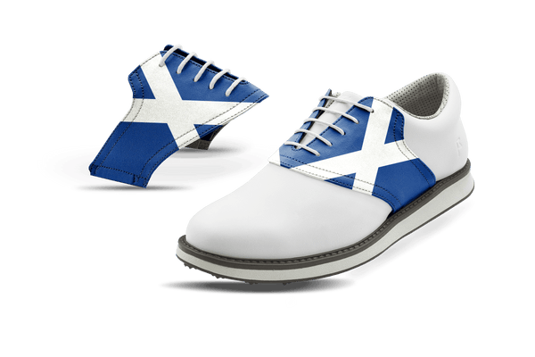 Men's Scotland Flag Saddles On White Golf Shoe From Jack Grace USA