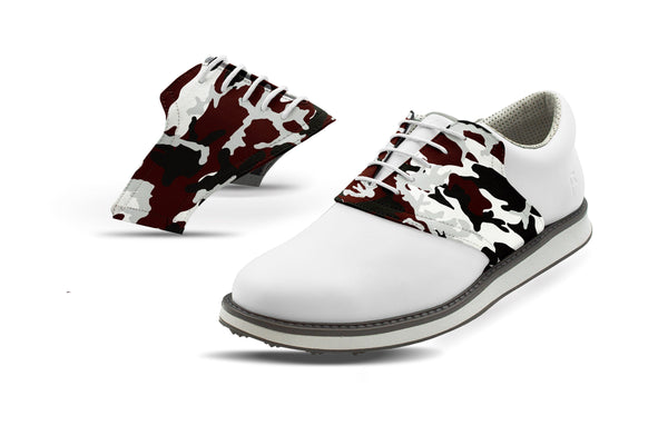 Men's College Station Camo Alma Mater Saddles On White Golf Shoe From Jack Grace USA