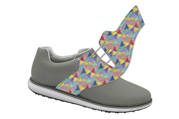Women's Triangles Saddles On Grey Golf Shoe From Jack Grace USA