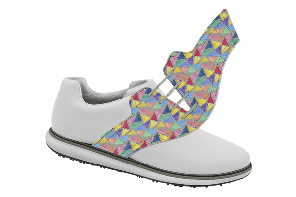 Women's Triangles Saddles On White Golf Shoe From Jack Grace USA