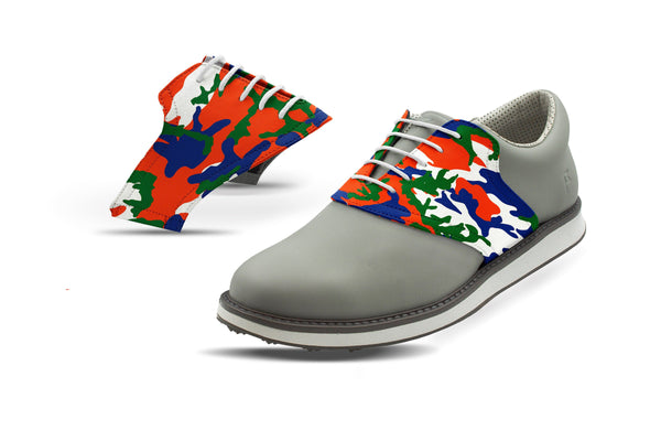 Men's Gainesville Camo Alma Mater Saddles On Grey Golf Shoe From Jack Grace USA