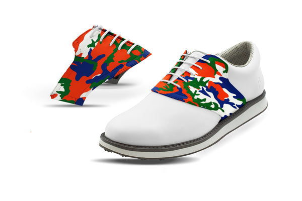Men's Gainesville Camo Alma Mater Saddles On White Golf Shoe From Jack Grace USA