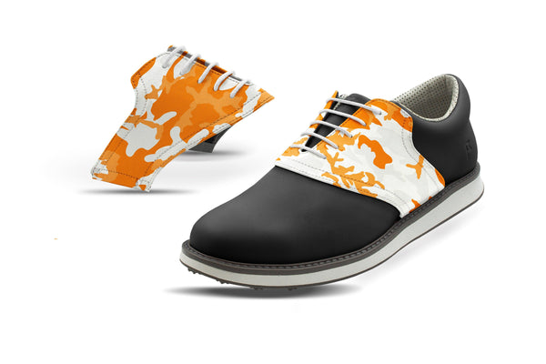 Men's Knoxville Camo Alma Mater Saddles On Black Golf Shoe From Jack Grace USA