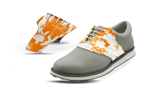 Men's Knoxville Camo Alma Mater Saddles On Grey Golf Shoe From Jack Grace USA