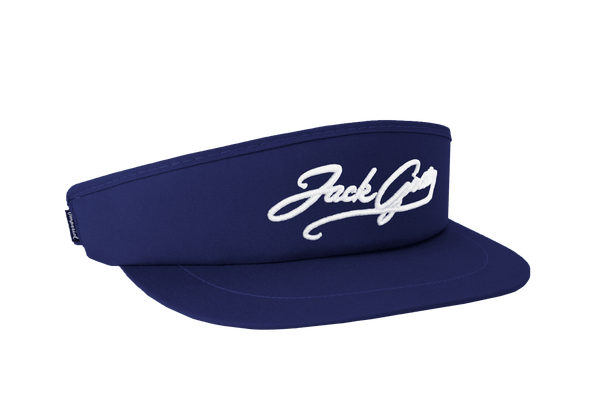 Men's Tour Visor with Jack Grace Cursive Logo - White on Navy