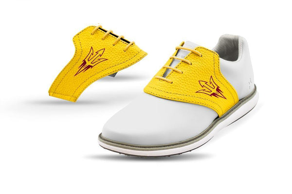 Women's ASU Gold Saddles On White Golf Shoe From Jack Grace USA