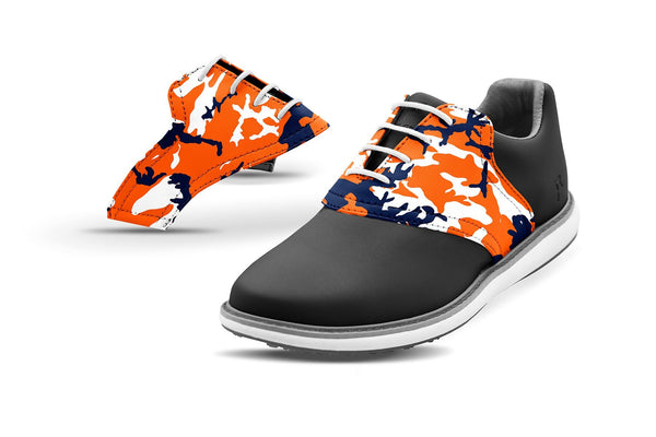 Women's Auburn Alma Mater Camo College Football Saddles On Black Golf Shoe From Jack Grace USA