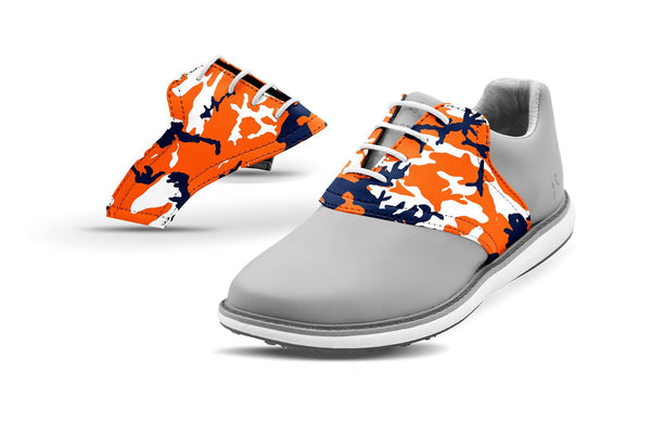 Women's Auburn Alma Mater Camo College Football Saddles On Grey Golf Shoe From Jack Grace USA