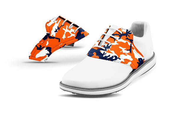 Women's Auburn Alma Mater Camo College Football Saddles On White Golf Shoe From Jack Grace USA