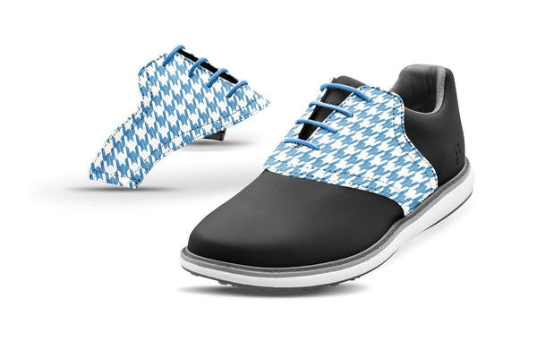 Women's Houndstooth Azure Blue Saddles On Black Golf Shoe From Jack Grace USA