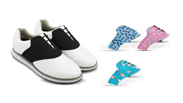 Women's Birds Bundle Saddles On White Golf Shoe From Jack Grace USA