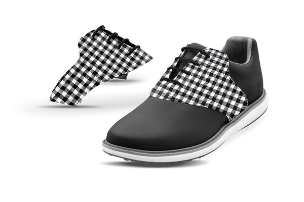 Women's Black Gingham Saddles On Black Golf Shoe From Jack Grace USA