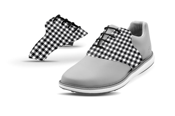 Women's Black Gingham Saddles On Grey Golf Shoe From Jack Grace USA