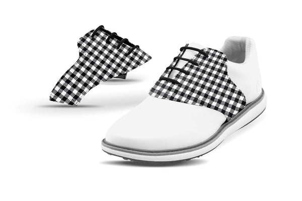 Women's Black Gingham Saddles On White Golf Shoe From Jack Grace USA