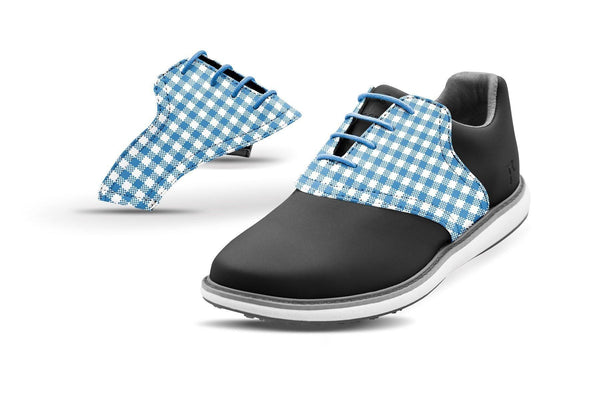 Women's Blue Azure Gingham Saddles On Black Shoes From Jack Grace USA