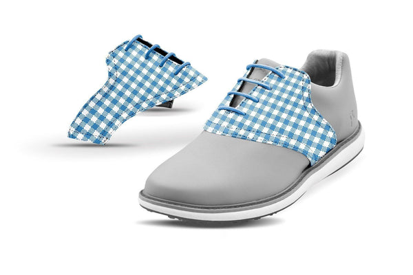 Women's Blue Azure Gingham Saddles On Grey Shoes From Jack Grace USA