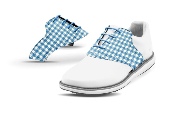 Women's Blue Azure Gingham Saddles On White Shoes From Jack Grace USA
