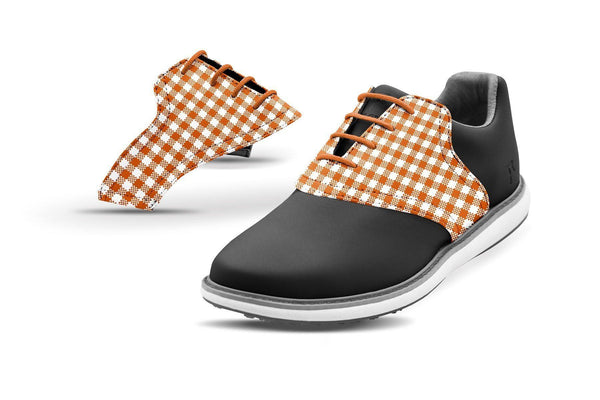 Women's Burnt Orange Gingham Saddles On Black Golf Shoe From Jack Grace USA